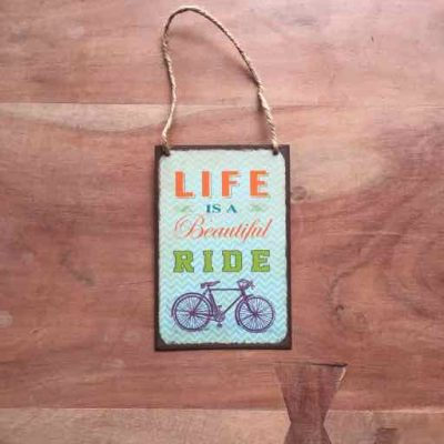 life is a beautiful ride tekstbord - fietscadeau van sportcadeautjes