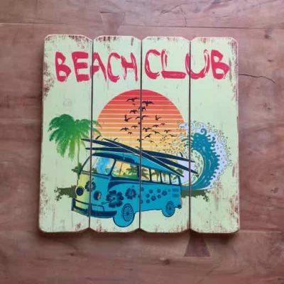 tekstbord beach club - surfcadeautjes van sportcadeautjes