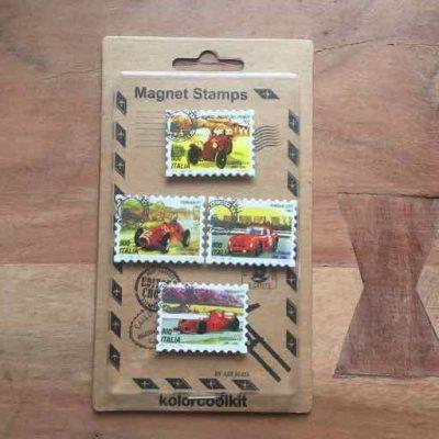 postzegel race auto magneten - autosportcadeautjes van sportcadeautjes