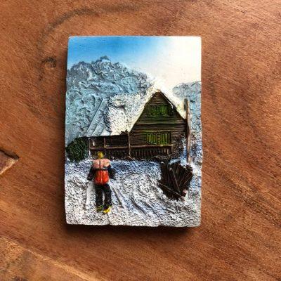 Sneeuw hut skier magneet - skicadeautje van sportcadeautjes